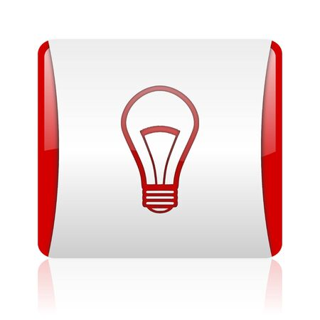 light bulb red and white square web glossy icon  photo