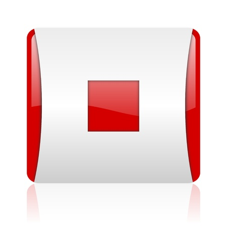 stop red and white square web glossy icon  photo