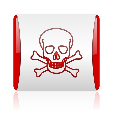 skull red and white square web glossy icon photo