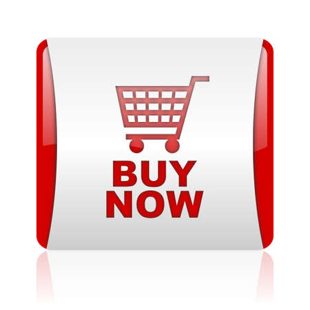 buy now red and white square web glossy icon Stock Photo - 18475890