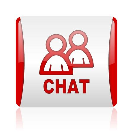 chat red and white square web glossy icon  photo