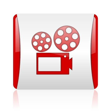 cinema red and white square web glossy icon  photo
