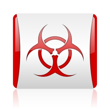 bacterioa: virus red and white square web glossy icon  Stock Photo