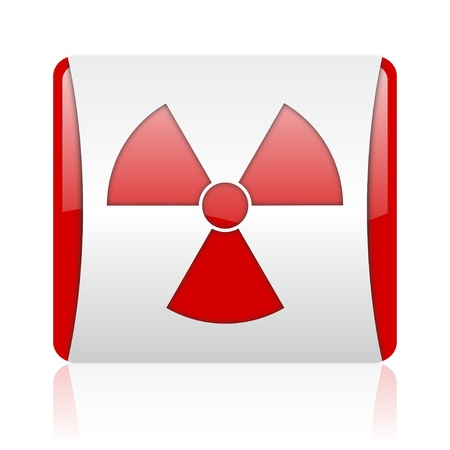 radiation red and white square web glossy icon
