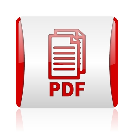 bibliography: pdf red and white square web glossy icon