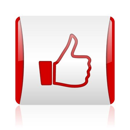 thumb up red and white square web glossy icon  photo