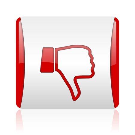thumb down red and white square web glossy icon Stock Photo - 18475473
