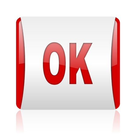 ok red and white square web glossy icon  photo