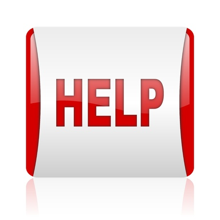 help red and white square web glossy icon  photo