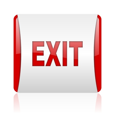 exit red and white square web glossy icon Stock Photo - 18475384