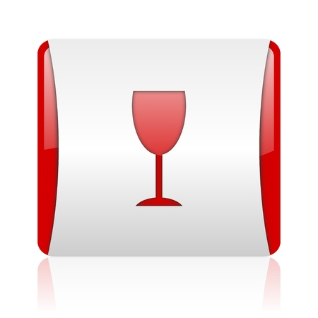 glass red and white square web glossy icon