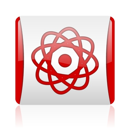 atom red and white square web glossy icon  photo
