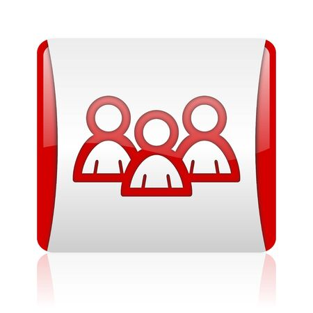 forum red and white square web glossy icon  photo