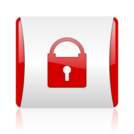 protect red and white square web glossy icon  photo