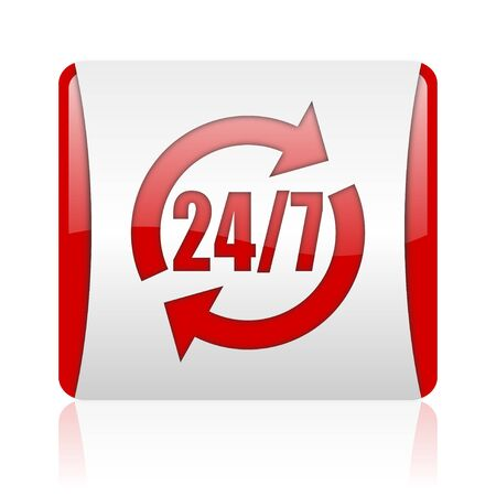 24/7 service red and white square web glossy icon Stock Photo - 18475956