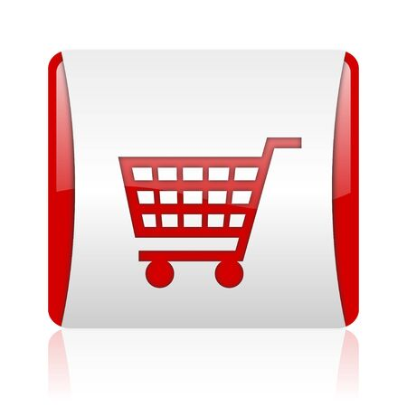 shopping cart red and white square web glossy icon   photo
