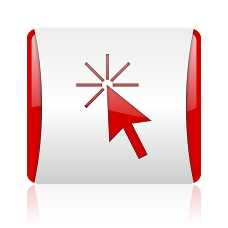 click here red and white square web glossy icon