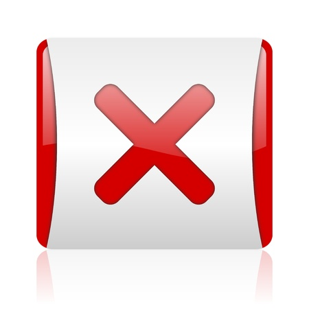 cancel red and white square web glossy icon