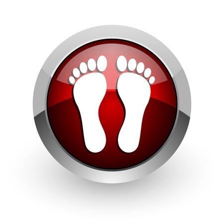 footprint red circle web glossy icon Stock Photo - 18578792