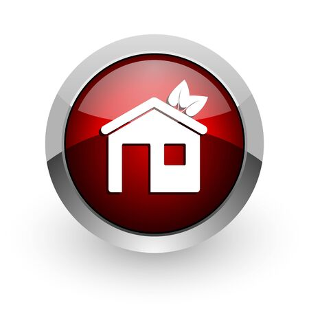 home red circle web glossy icon  photo