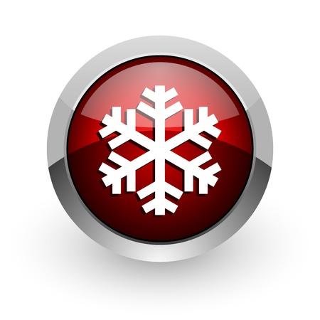 snowflake red circle web glossy icon Stock Photo - 18579160