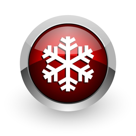 snowflake red circle web glossy icon Stock Photo - 18579160