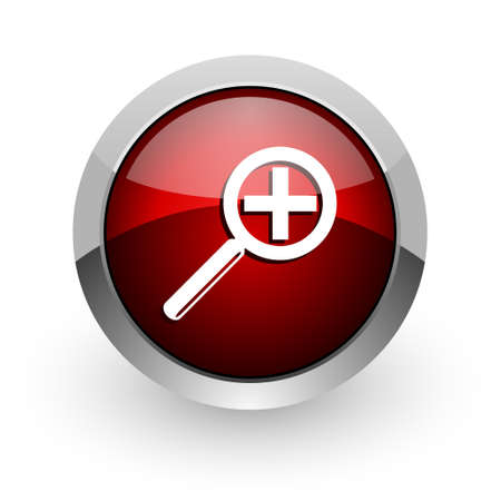 magnification: magnification red circle web glossy icon  Stock Photo