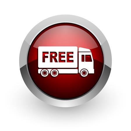 délivrance: envoi gratuit icône rouge brillant cercle web Banque d'images