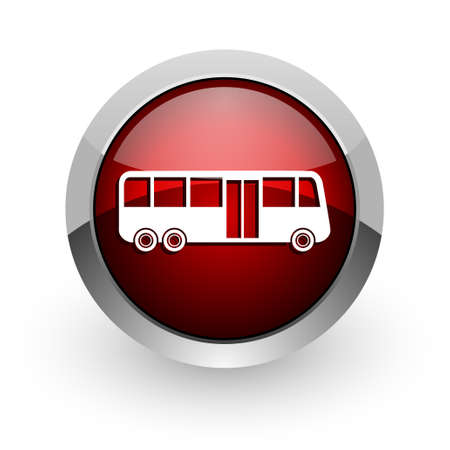bus red circle web glossy icon  photo