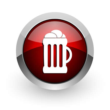 beer red circle web glossy icon  photo