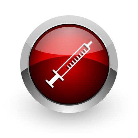 syringe red circle web glossy icon  photo