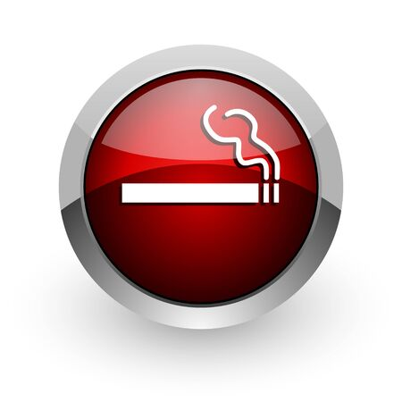 smoking red circle web glossy icon  photo