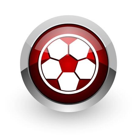 soccer red circle web glossy icon  photo