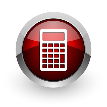 calculator red circle web glossy icon  photo