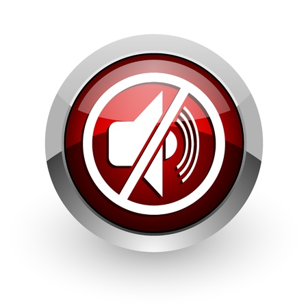 mute red circle web glossy icon  photo