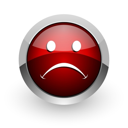 cry red circle web glossy icon Stock Photo - 18578816