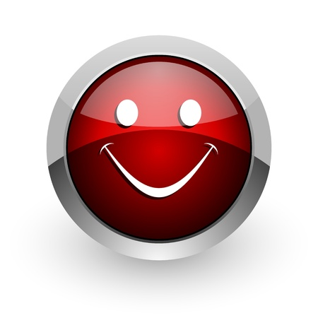 smile red circle web glossy icon Stock Photo - 18578852