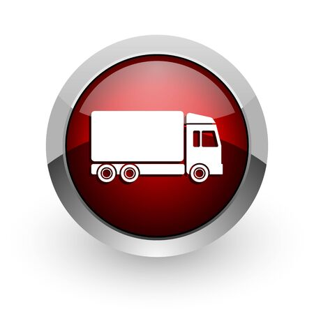 delivery red circle web glossy icon  photo