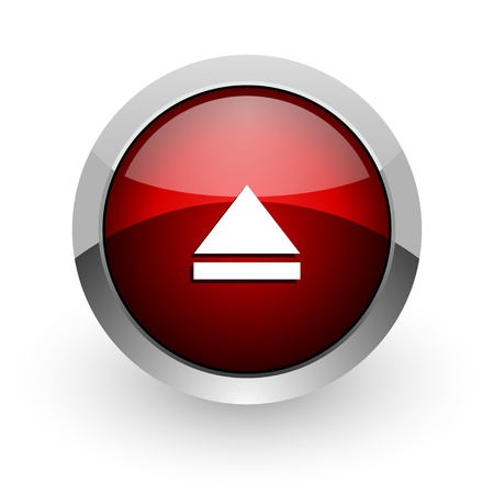 eject red circle web glossy icon Stock Photo - 18578625