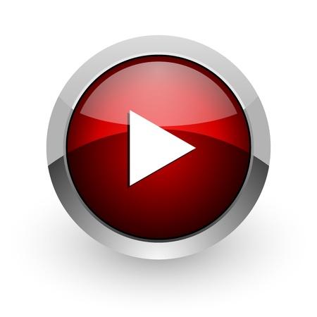 play red circle web glossy icon Stock Photo - 18578612