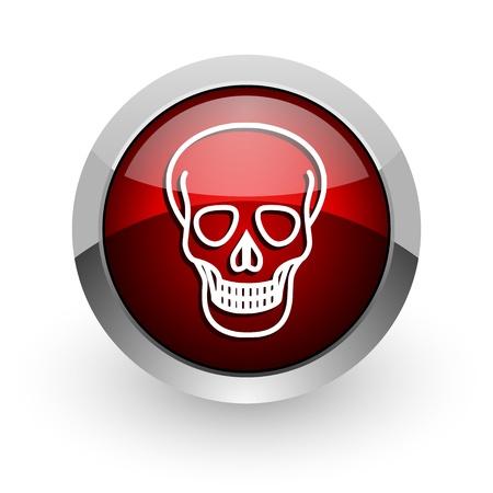 skull red circle web glossy icon Stock Photo - 18579206