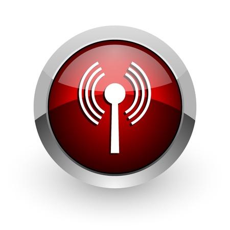wireless hot spot: wifi red circle web glossy icon  Stock Photo