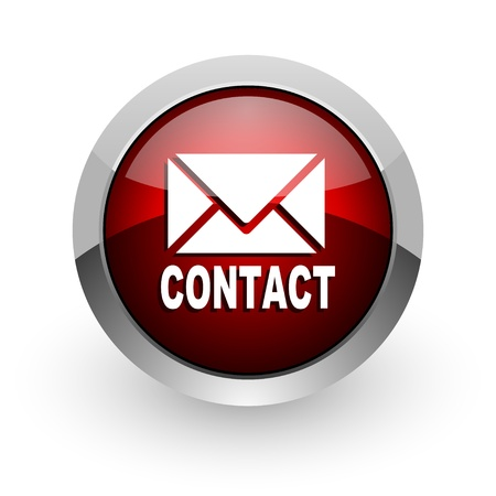 contact red circle web glossy icon  photo