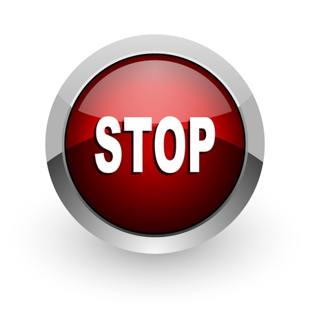 stop red circle web glossy icon Stock Photo - 18578783