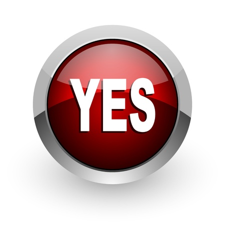 yes red circle web glossy icon Stock Photo - 18578760