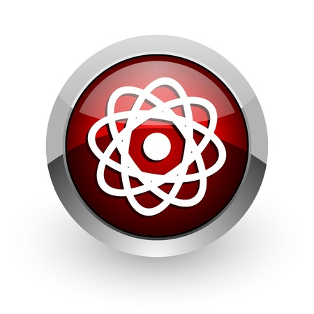 atom red circle web glossy icon Stock Photo - 18579210