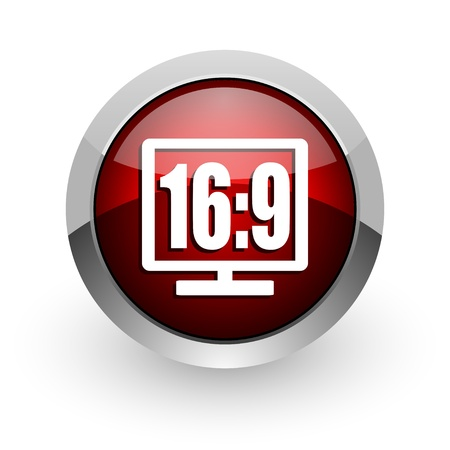 16 9 display red circle web glossy icon  photo