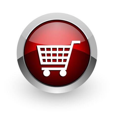 shopping cart red circle web glossy icon Stock Photo - 18578850