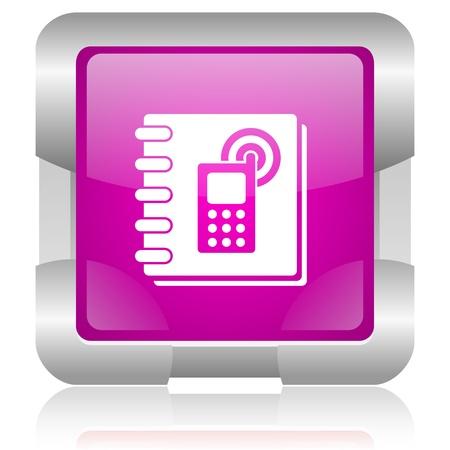 modern oryginal violet square glossy internet icon with steel border on white background Zdjęcie Seryjne