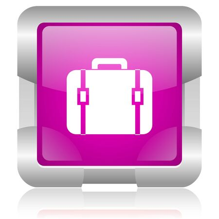 oryginal: modern oryginal violet square glossy internet icon with steel border on white background Stock Photo